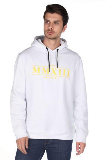 Markapia Beyaz Erkek Kapüşonlu Sweatshirt - Thumbnail