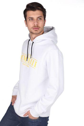 MARKAPIA MAN - Markapia Beyaz Erkek Kapüşonlu Sweatshirt (1)