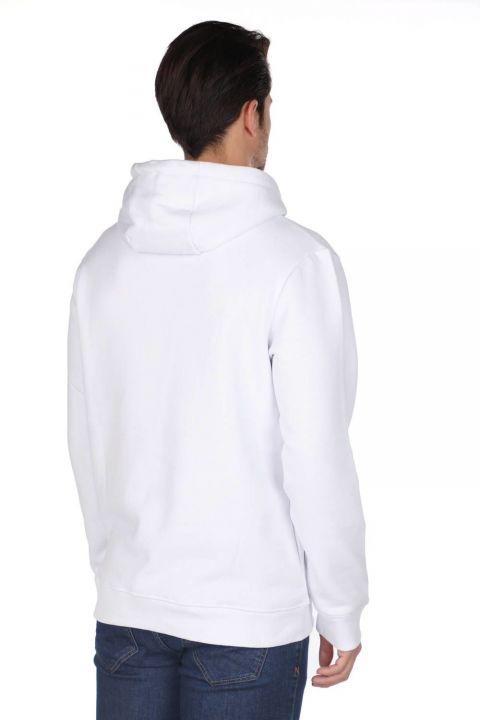 Markapia Beyaz Erkek Kapüşonlu Sweatshirt