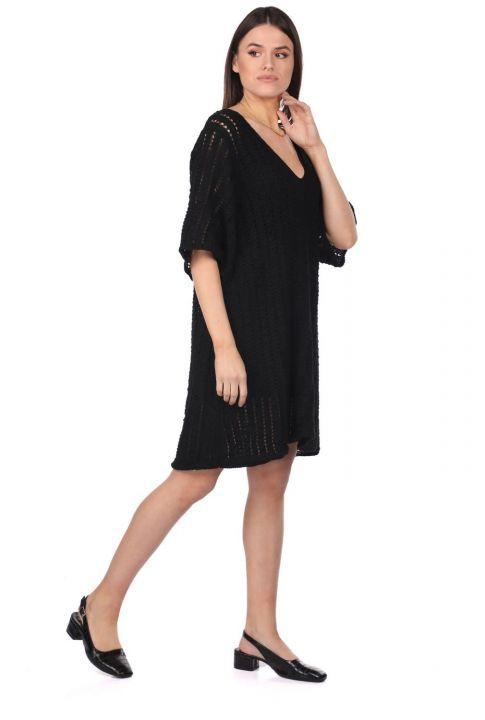 فستان تريكو ميني بقصة واسعة من ماركابيا