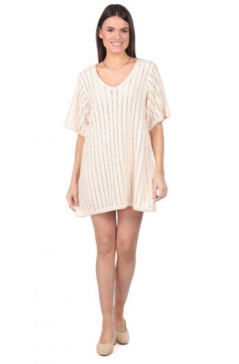 Трикотажное мини-платье с широким вырезом Markapia - Thumbnail