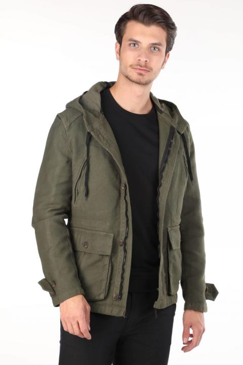 Markapia Men's Hooded Jean Jacket