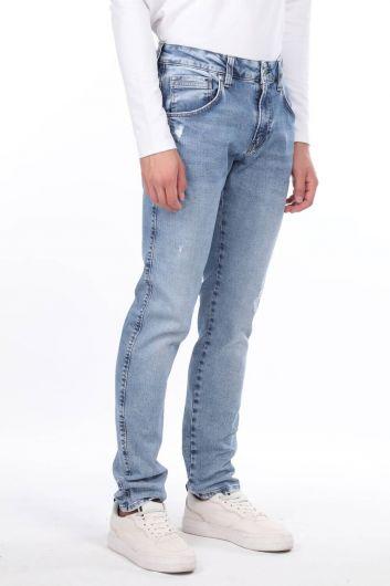 Мужские синие джинсовые брюки со средней талией Markapia - Thumbnail