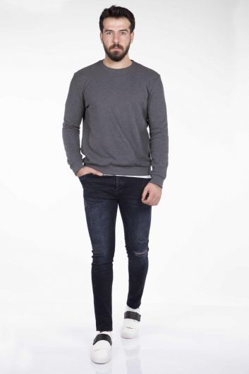 MARKAPIA MAN - Серый мужской свитер с круглым вырезом Markapia (1)