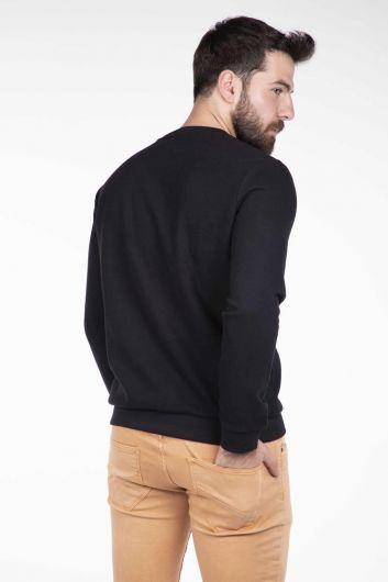 Серый мужской свитер с круглым вырезом Markapia - Thumbnail