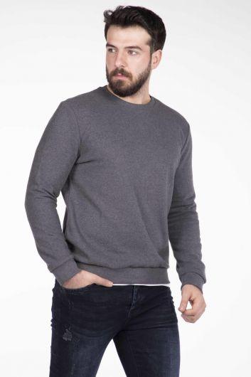 Markapia Men's Gray Crew Neck Sweater - Thumbnail