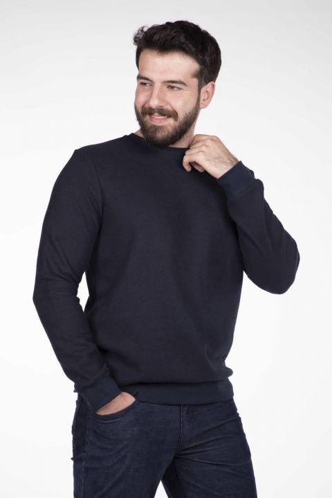 Markapia Men's Gray Crew Neck Sweater