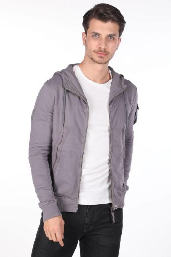 Markapia Men's Hooded Zippered Cardigan - Thumbnail