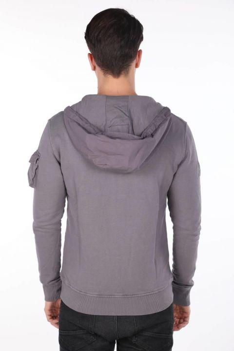 Markapia Men's Hooded Zippered Cardigan