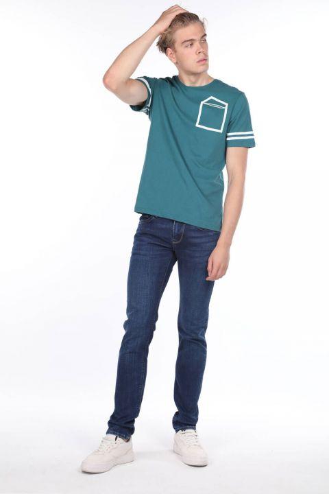بنطلون جينز أزرق كحلي للرجال من ماركابيا