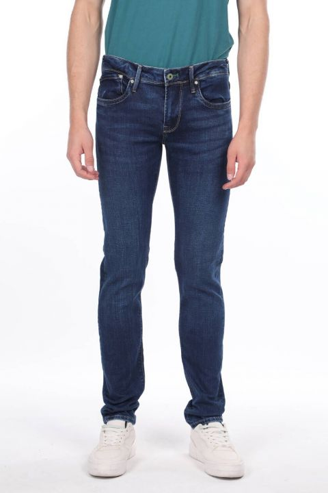Markapia Men's Navy Blue Jean Trousers