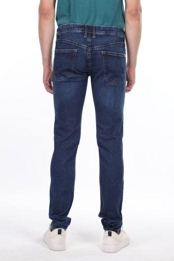 Мужские темно-синие джинсовые брюки Markapia - Thumbnail