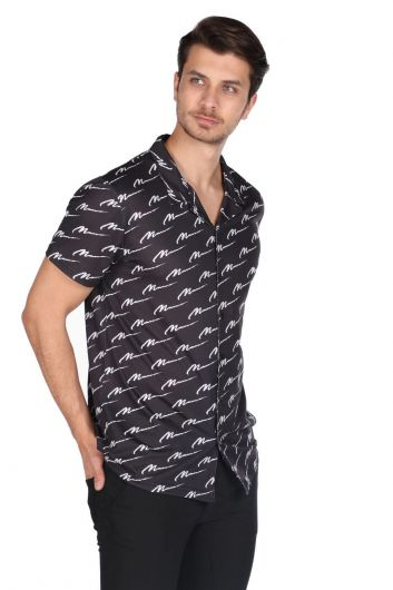 MARKAPIA MAN - قميص ماركابيا رجالي أسود منقوش بأكمام قصيرة (1)