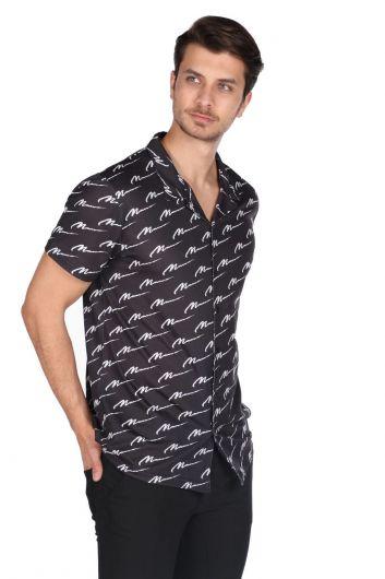 MARKAPIA MAN - Рубашка мужская с коротким рукавом Markapia черная с рисунком (1)