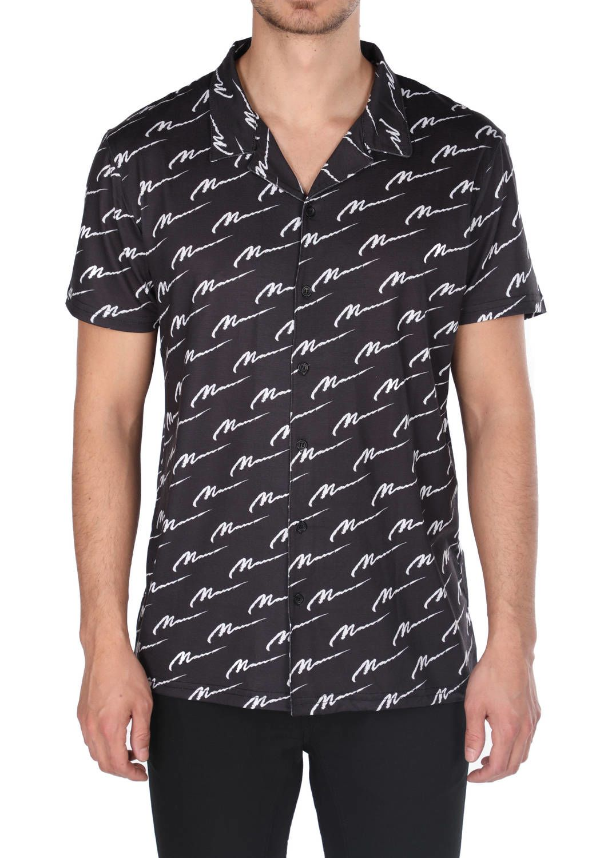 Рубашка мужская с коротким рукавом Markapia черная с рисунком
