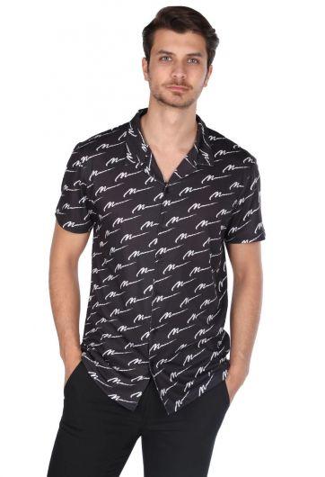 Markapia Men's Black Patterned Short Sleeve Shirt - Thumbnail