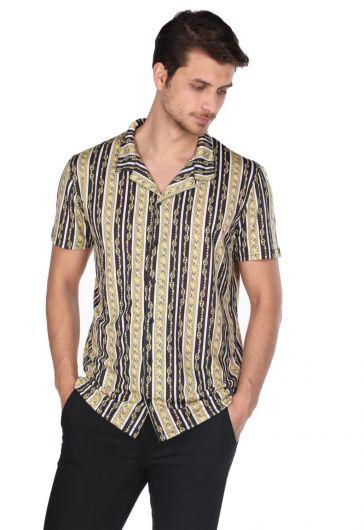 ماركابيا قميص بأكمام قصيرة بنمط سلسلة سوداء - Thumbnail