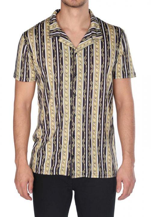 ماركابيا قميص بأكمام قصيرة بنمط سلسلة سوداء