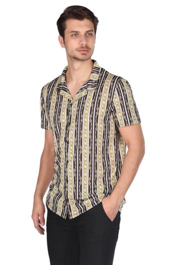 MARKAPIA MAN - Markapia Black Chain Pattern Short Sleeve Shirt (1)