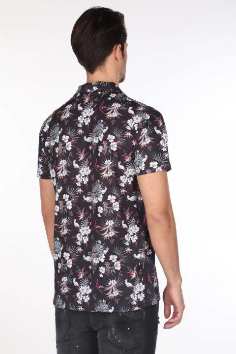 ماركابيا قميص أسود قصير الأكمام بنقشة زهور