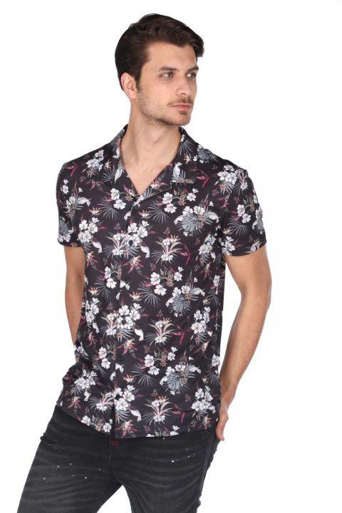 Черная рубашка с коротким рукавом Markapia с цветочным узором