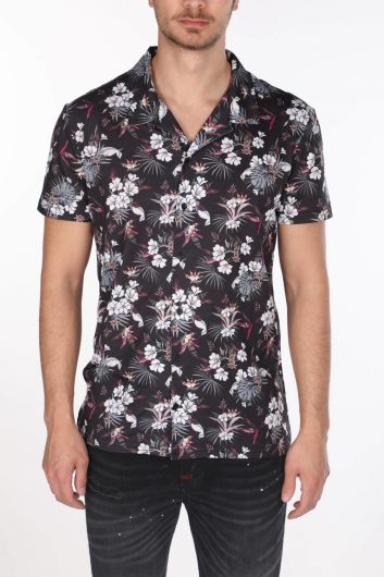Черная рубашка с коротким рукавом Markapia с цветочным узором - Thumbnail