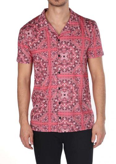 Бордовая мужская рубашка с коротким рукавом с узором в виде мандалы Markapia - Thumbnail