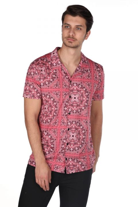 Markapia Men's Burgundy Mandala Pattern Short Sleeve Shirt