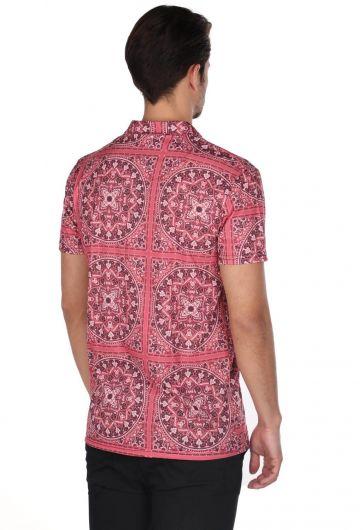 Markapia Men's Burgundy Mandala Pattern Short Sleeve Shirt - Thumbnail