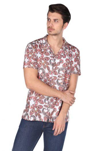 Мужская рубашка с коротким рукавом Markapia с рисунком экрю - Thumbnail