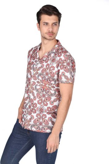 MARKAPIA MAN - Markapia Men's Ecru Patterned Short Sleeve Shirt (1)