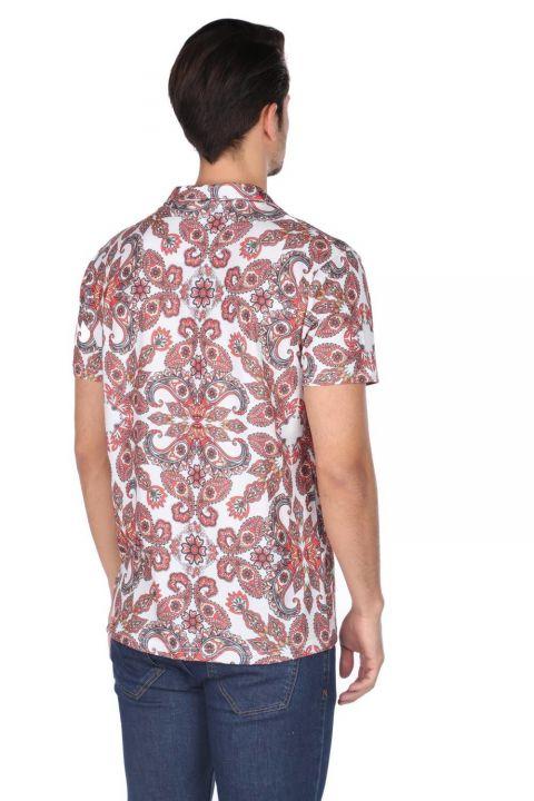 Markapia Men's Ecru Patterned Short Sleeve Shirt