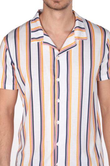 قميص ماركابيا للرجال مخطط بأكمام قصيرة - Thumbnail
