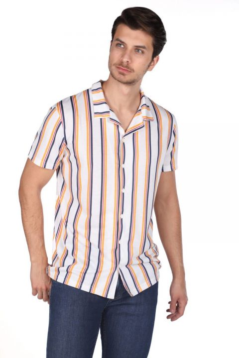 Markapia Men's Striped Short Sleeve Shirt