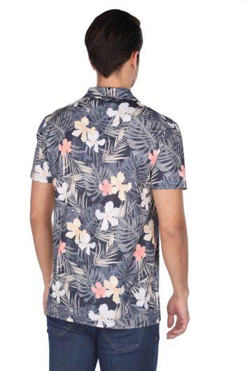 قميص ماركابيا للرجال بأكمام قصيرة بنمط أوراق الشجر الأزرق الداكن - Thumbnail