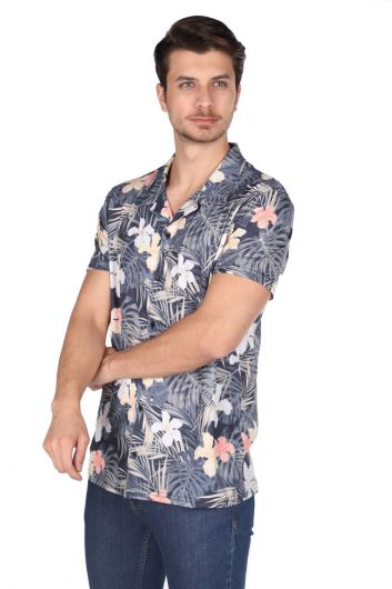 Мужская темно-синяя рубашка с коротким рукавом с узором Markapia - Thumbnail