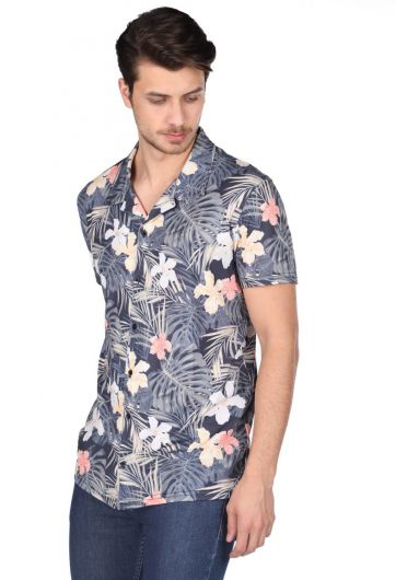 Markapia Men's Navy Blue Leaf Pattern Short Sleeve Shirt - Thumbnail