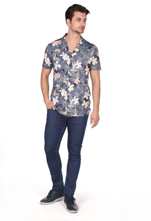 Markapia Men's Navy Blue Leaf Pattern Short Sleeve Shirt