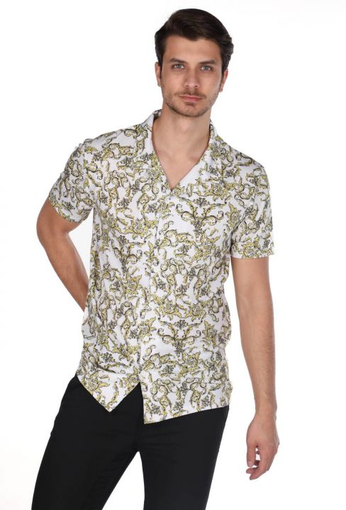 Markapia Men's White Patterned Short Sleeve Shirt