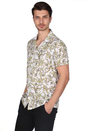 Markapia Men's White Patterned Short Sleeve Shirt - Thumbnail