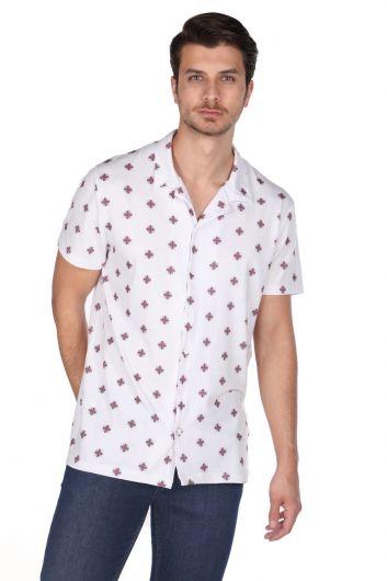 Рубашка мужская с коротким рукавом с коротким рукавом Markapia с белым узором - Thumbnail