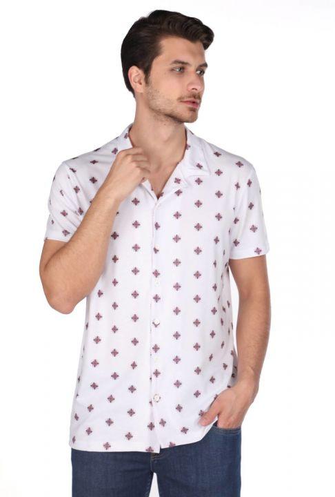 Markapia Men's White Pattern Slim Short Sleeve Shirt