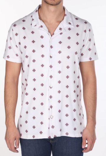 Markapia Men's White Pattern Slim Short Sleeve Shirt - Thumbnail