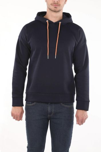 Markapia Navy Blue Hooded Sweatshirt - Thumbnail