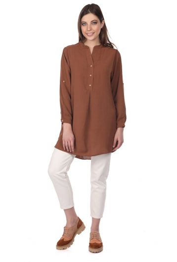 Markapia Oversize Button Detailed Women's Blouse - Thumbnail