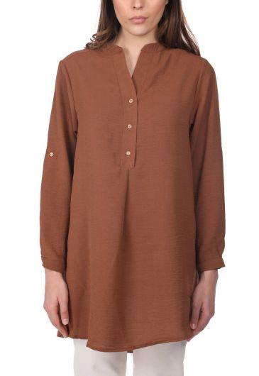 Женская блузка Markapia Oversize с детализированными пуговицами - Thumbnail