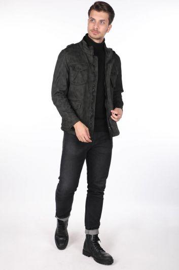Мужская джинсовая куртка с рисунком Markapia - Thumbnail