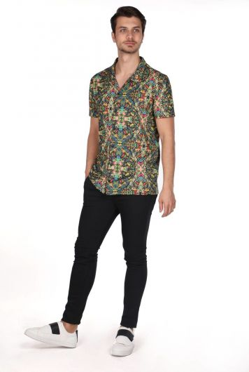 MARKAPIA MAN - Markapia Patterned Green Short Sleeve Shirt (1)
