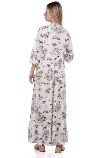 فستان منقوش بشراشيب من ماركابيا - Thumbnail