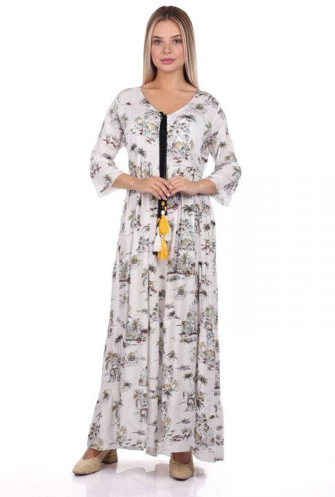 فستان منقوش بشراشيب من ماركابيا